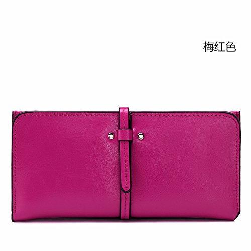 Mefly Neue Damen Leder Handtasche Leder Brieftasche Kapazität Multi Card Wallet Plum