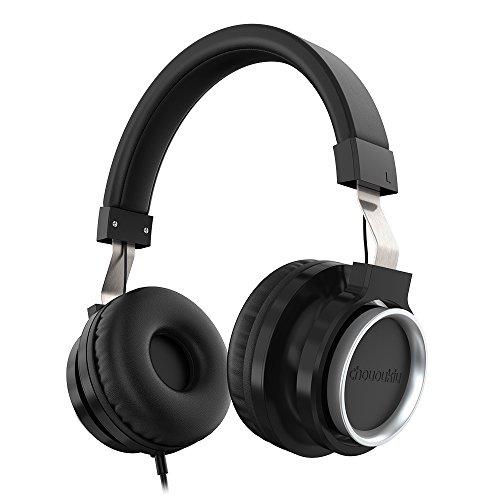 Chououkiu cuffia regolabile Over Ear Stereo con cavo antigroviglio e microfono per iPhone iPad Smartphone Android