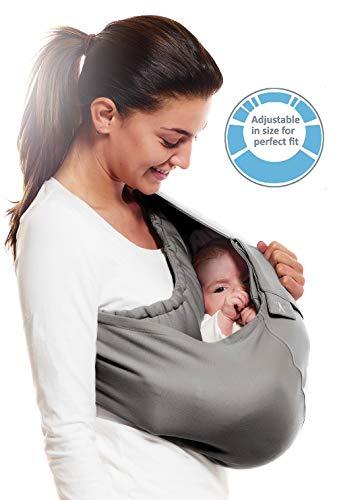 WallaBoo portabebés Connection, 100% algodón, se adapta a la forma de tu bebé, ergonómica, color gris