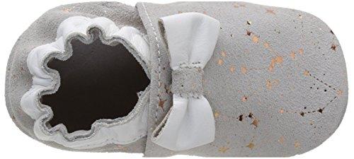 Robeez Tender Flower, Chaussures de Naissance Bébé Fille Gris (Gris Clair Etoile Cuivre)