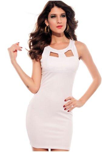 Dissa® noire sexy dos nu point près du corps Cocktail Soirée Robe, Blanc Blanc