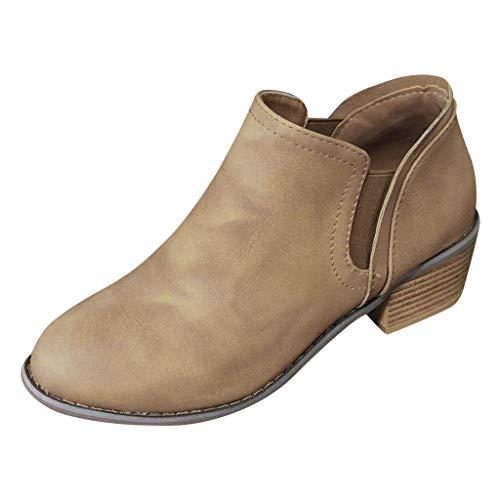 Damen Stiefel Kolylong® Frauen Ankle Boots Stiefeletten Chelsea Boots mit Blockabsatz Elegant Kurzschstiefel Komfortable Einzelne Schuhe Kurzschaft Stiefel Herbstschuhe Kurz Stiefel Schuhe