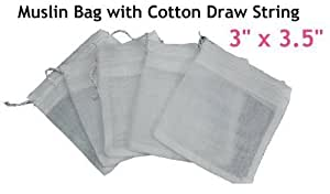 """White Reusable Muslin Bags with Draw String for Spice, Herbs, Tea, Mulled Wine, Bouquet Garni Infuser Sieve - 3"""" x 3.5"""" (10 pcs)"""