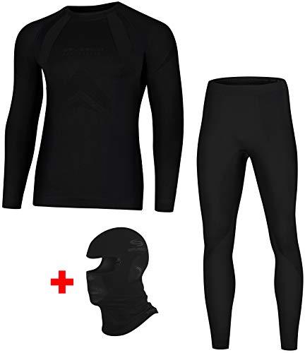 Brubeck Dry Funktionsunterwäsche + Sturmhaube | Ski | Motorrad | Snowboard | Radsport | Damen | Herren | LS10180 + LE10160 + KM00010 | XL | 01.3.Dry + Sturmhaube - Nero Absoluto