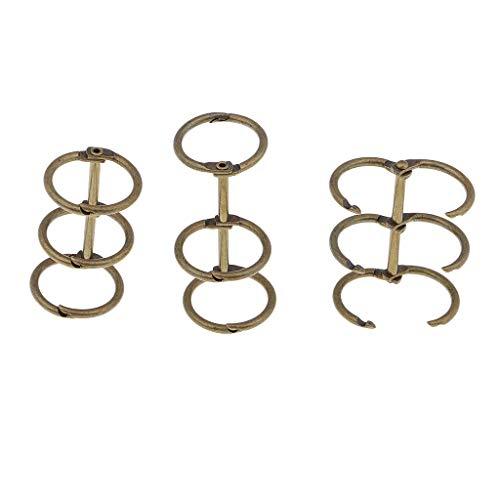 3pcs A5 A6 Album Verbinder Ringe Buchringe Heftring Buchring Schlüsselring für Scrapbooking Album Handwerk - Bronze -