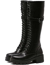 Femmes Chelsea Bottes 8cm Chunkly Talon Bout Rond Martin Boots Simple Pur Couleur Ceinture Boucle Élastique Bande Cheville Bottes Robe Bottes Eu Taille 34-40 ( Color : Black , Size : 38 )