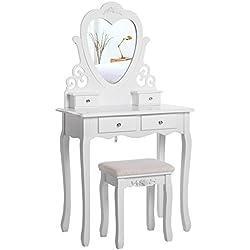 Songmics Encantador Tocador Mesa de maquillaje 4 Cajones Espejo en forma de corazón Taburete acolchado Blanco RDT14W