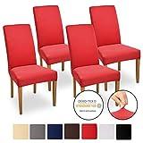 Beautissu Stuhlhussen 4er Set Mia 35-50 cm Stretch Stuhlbezug - Vier Hussen für Stühle im Set - Bi-Elastic Stuhlüberzug Set - Pflegeleichte Stuhlhusse ÖKO-TEX Rot
