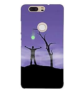 Fiobs Designer Phone Back Case Cover Huawei Honor V8 ( Purple Man Star Full Moon )