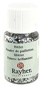 Poudre paillettes Hologramme Argenté brillant 2mm 10 ml - Rayher