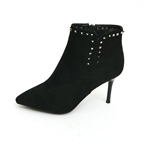 schuhe Neue Winter blanken Stiefel Stiefel mit Nieten mit Spitzen fein Sexy weiblichen High-Heeled Schuhe weibliche Ma Dingxue Thirty-Eight Schwarz (Clark Schuhe Weiblich)