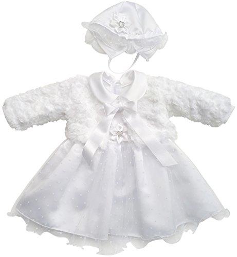 Kleid Babykleid Taufkleid Festkleid Bolero Jacke Mädchen Baby Taufe Taufjacke, Mia Weiß, 74