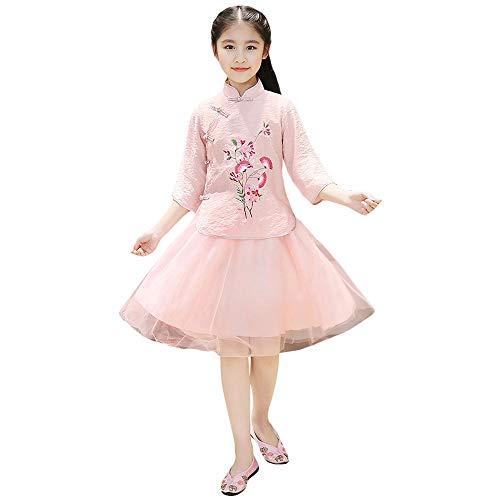 ZooBoo Chinesisches Performance Kleid Cheongsam - Traditionell Aufführung Kostüm Abend Kleidung Cosplay Outfit Stehkragen Stickmuster Anzug für Kinder Mädchen (Körpergröße 120 cm, Rosa)