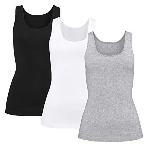 Damen T-Shirt Unterhemd BH-Shirt m. Einlage vorgeformt(schwarz/weiß/grau, L)