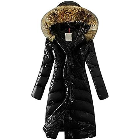 LvRao Mujer abrigos de plumas largos chaquetas de invierno parka pluma con capucha calentar anorak
