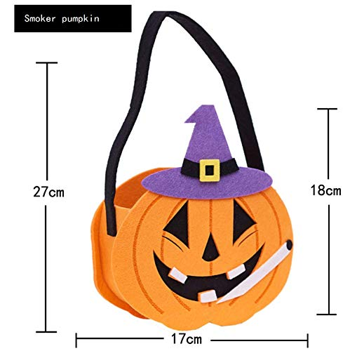 YC DOLL Halloween Candy Bags Kids Trick Behandeln Taschen, Event-Party-Lieferungen, Halloween-Goodie-Taschen, Packung Von 4 (Für Alle Altersgruppen, Orange, Weiche Filztasche)