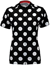 Qianliuk Mujeres Blanco Puntos Impresos Anti Arrugas Manga Corta Ciclismo enzima Lavado Transpirable Anti Pilling Cremallera de Ciclismo Ropa Ropa de Bicicleta Camiseta