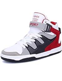 online retailer d95d1 84783 Hombres Zapatos Deportivos de Alta Tapa Transpirable Cuero Zapatillas de  Deporte Entrenador de Baloncesto Masculino