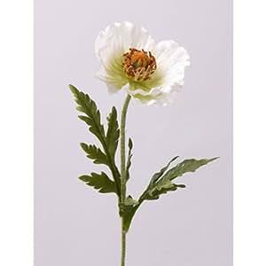 Mini coquelicot artificiel, blanc, 2 feuilles, 60 cm, Ø 8 cm - Pavot artificiel / Fleur artificielle pavot - artplants