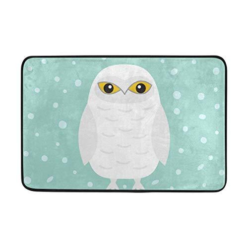 White Kostüm Owl - DDOBY Fußmatte White Snow Owl Leichte rutschfeste Indoor Outdoor Entryway Teppiche Bodenmatte für Bad Küche Eingang 23,6 x 15,7 Zoll