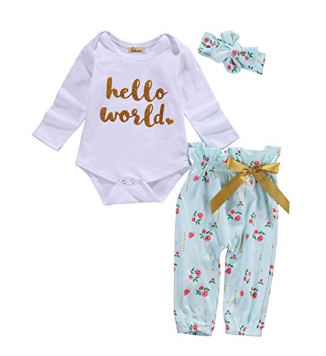 MA&BABY Neugeborenes Babykleidung Fliegende Lange Ärmel Mädchen Gedruckt Schleife Outfits Top + Hosen + Stirnband 3 Stück Kleidungs Satz