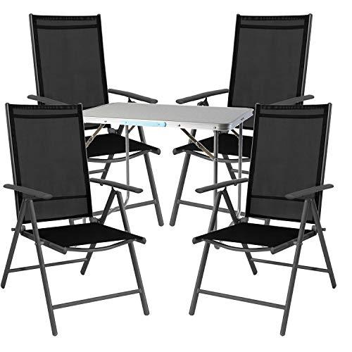 Mojawo  5tlg. set di mobili da campeggio in alluminio, 70 x 50 x 59 cm, 1 tavolo da campeggio con maniglia e 4 sedie pieghevoli in alluminio, antracite/tessuto, nero
