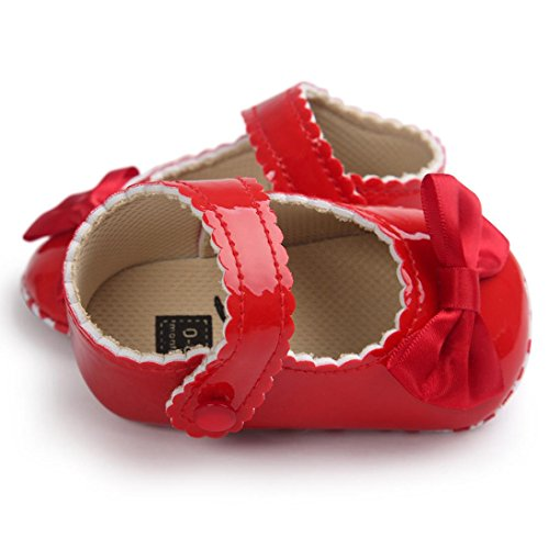 Hunpta Babyschuhe Mädchen Jungen Lauflernschuhe Baby Mädchen Bowknot Leater Schuhe Sneaker rutschfest weiche Sohle Toddlerr (11, Weiß) Rot