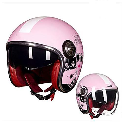 Ssmmxx Harley Motorradhelm Pink Woman, Motorradpilot Jethelm Halbhelm, DOT/ECE-zertifizierter 3/4 Open-Helm,XL (Harley-davidson Pink Womens)