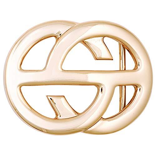 Luca Kayz Damen-Gürtelschnalle Wechselschließe offene Kreise 4cm eis-gold (Schnalle Kreis Gürtel)