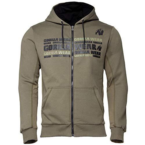 GORILLA WEAR Fitness Hoodie - Bowie Mesh Zipped - Bodybuilding Jacke Army Green XXL