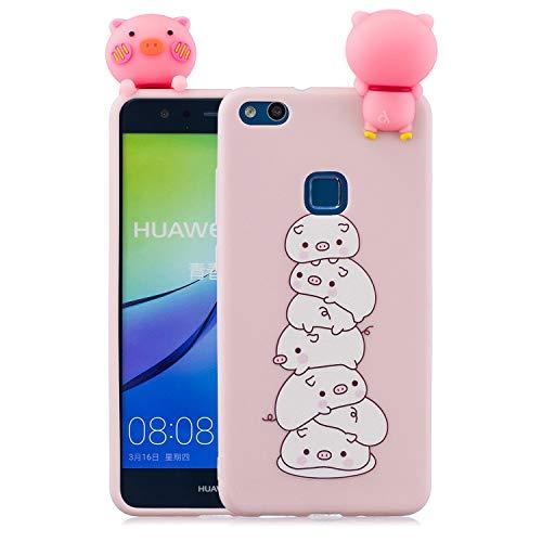 Carols Huawei P10 Lite Handyhülle, Niedlicher Fall der Puppe 3D - Huawei P10 Lite (5,2 Zoll) Schutzhülle - EIN Haufen Schweine
