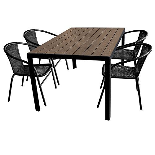 5tlg. Gartengarnitur Aluminium Gartentisch 150x90cm mit Polywood Tischplatte stapelbare Polyrattan Bistrostühle