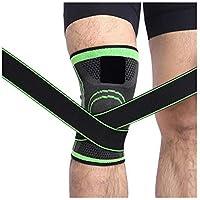 Rodillera 3D de tejido presurización, rodillera, baloncesto, senderismo, ciclismo, rodillera de apoyo profesional para deportes de protección, color verde, tamaño extra-large
