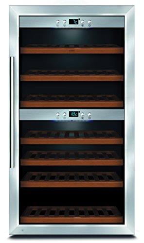 CASO WineMaster 66 Design Weinkühlschrank für bis zu 66 Flaschen (bis zu 310 mm Höhe), zwei Temperaturzonen 5-20°C, Getränkekühlschrank, Energieklasse A