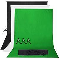 Phot-R 2mx3m regolabile Heavy Duty Photo Professional Studio del contesto di sostegno dello schermo Stand Kit sistema con 3x 3mx6m Nero Bianco Chroma key verde 100% mussola di cotone di colore Sfondi 3 clip mussola + custodia da trasporto