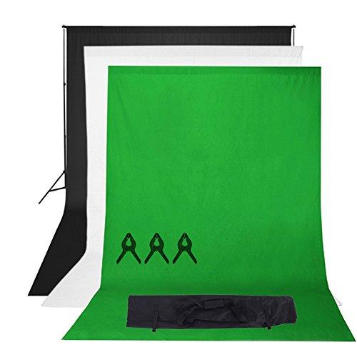 Phot-R 3mx3m regolabile Heavy Duty Photo Professional Studio del contesto di sostegno dello schermo Stand Kit sistema con 3x 3mx6m Nero Bianco Chroma key verde 100% mussola di cotone di colore Sfondi 3 clip mussola + custodia da trasporto