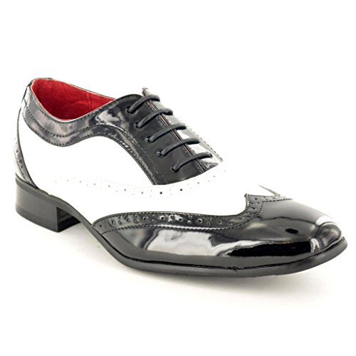 Mens Black White Shiny Spats Italian Style Lace Up Wingtip Shoes Formal Shoes Size 11