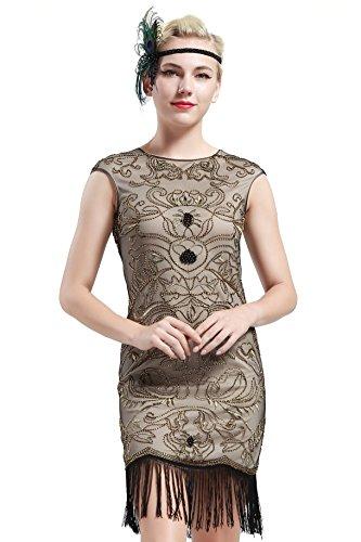 BABEYOND Damen Vintage 1920er Gatsby Kleider Perlen verziert Fransen Flapper Kleid Beige (Medium, (1920er Jahren Flapper Kostüm Uk Kleid)