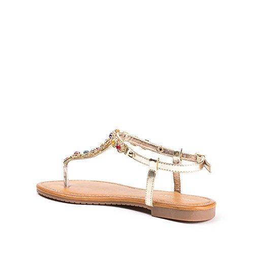 De De Strassée Dorado Ideales Zapatos Malla Elina Duna Cadena Embutidos Planas Sandalias 05z6w