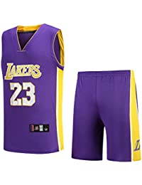 NBA Lakers Jersey No. 23 James Male Basketball Traje de Ropa,A-Purple