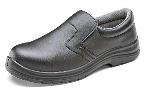 b-click Schuhe Mikrofaser Slip auf Sicherheit Schuh Schwarz Schuhe Slip