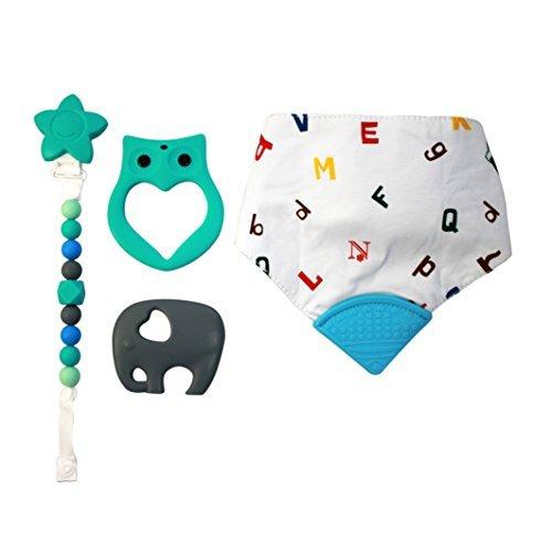 Pince à tétine de luxe avec 2 grands jouets de dentition en silicone pour bébé, clip de tétine et bavoir bandana ABC.