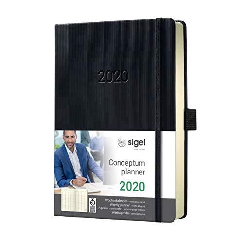 buch Wochenkalender 2020, ca. A5, 1 Woche = 2 Seiten, 1 Spalte pro Tag, schwarz, Hardcover, Conceptum - weitere Modelle ()
