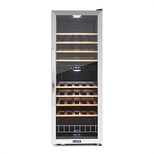 Klarstein Vinamour 54D • Cantinetta • Frigofero per Vino • Volume 148L • 32dB • Ideale per 54 Bottiglie • 2 Zone Programmabili • Display LCD • Touch • 8 Ripiani Estraibili • Classe B • Vetro/Acciaio