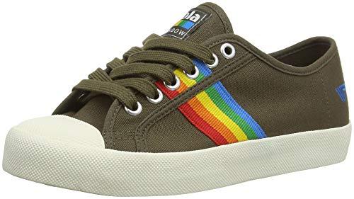 Gola Damen Coaster Rainbow Sneaker, Green (Khaki/Multi NZ), 38 EU