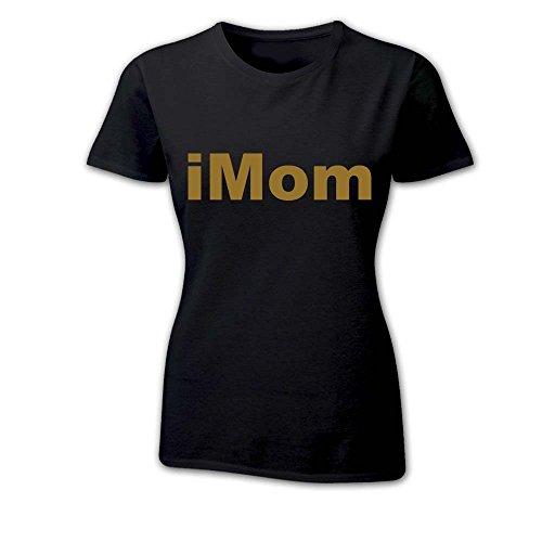 T Shirt Donna Idea Per La Mamma iMom iBaby NERA Oro