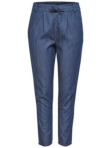 Only Onlpoptrash Denim Woven Lyocell Pant Qyt, Pantalon Femme Bleu jeans foncé