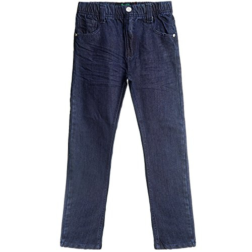 Kinder Jungen Jeans Hose Gummizugbund Slim Röhre Stretch Röhrenjeans Used 21502, Farbe:Blau, Größe:152 (Jungen Jeans Größe 12)