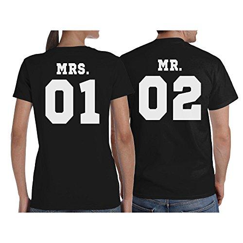 Mr und Mrs - Schönes Pärchen Geschenk mit WUNSCHZAHL T-Shirt mr-Grau