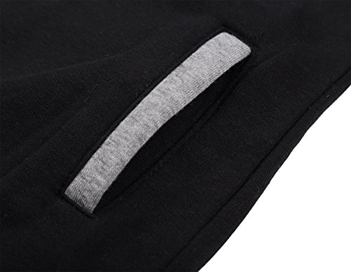 DJT Damen Sweaters Hoodie Sweatshirt Schraeg Zipper Kapuzenpllover Schwarz L - 4